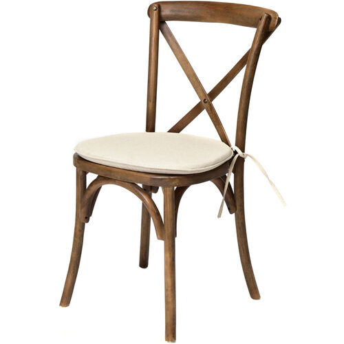 Our Rustic Sonoma Solid Wood Cross Back Stackable Dining Chair with Burlap X02 Cushion - Dark walnut is on sale now.