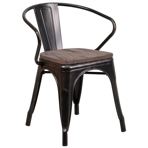 Our Black-Antique Gold Metal Chair with Wood Seat and Arms is on sale now.