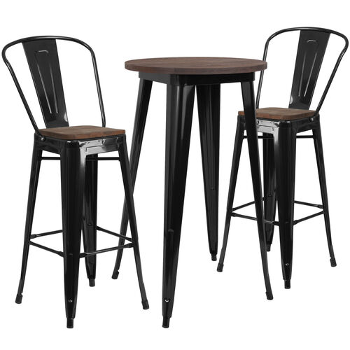"Our 24"" Round Black Metal Bar Table Set with Wood Top and 2 Stools is on sale now."