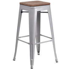 """30"""" High Backless Silver Metal Barstool with Square Wood Seat"""