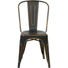 OSP Designs Bristow Stackable Armless Metal Chair - Set of 4 - Antique Copper