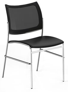 Bistro Escalate Chair with Mesh Back and Fabric Cushioned Seat - Set of 4 - Black