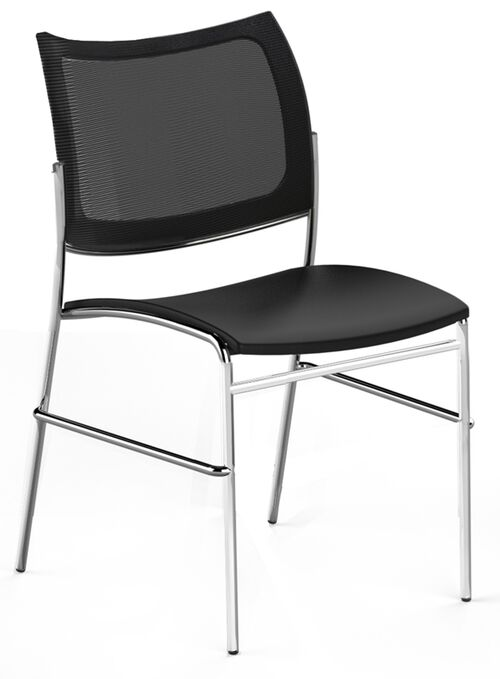 Our Bistro Escalate Chair with Mesh Back and Fabric Cushioned Seat - Set of 4 - Black is on sale now.