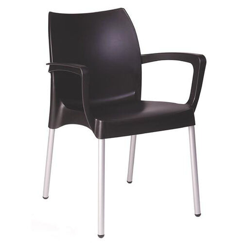 Our Domenica Lightweight Stackable Arm Chair with Aluminum Legs - Black is on sale now.