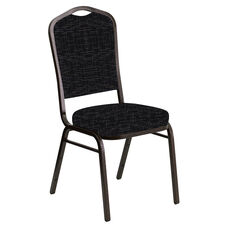 Crown Back Banquet Chair in Amaze Ebony Fabric - Gold Vein Frame