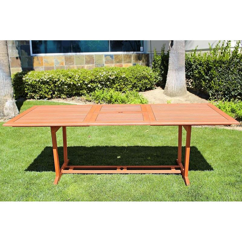 ... Our Malibu Outdoor 7 Piece Wood Patio Dining Set With Rectangular  Extension Table And 6 Stacking ...