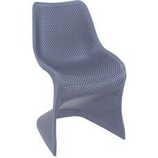 Bloom Contemporary Polypropylene Dining Chair - Dark Gray