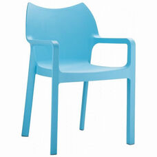 Diva Outdoor Resin Stackable Dining Arm Chair -Blue
