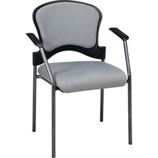 Pro-Line II Upholstered Contour Back Stacking Visitors Chair with Arms and Titanium Finish Frame - Ember