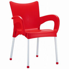 Romeo Outdoor Resin Stackable Dining Arm Chair with Aluminum Legs - Red