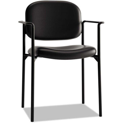 Basyx® VL616 Series Contemporary Stacking Guest Arm Chair - Black Leather