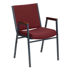 HERCULES Series Heavy Duty Burgundy Patterned Fabric Stack Chair with Arms