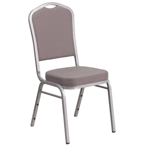 Our HERCULES Series Crown Back Stacking Banquet Chair in Gray Dot Fabric - Silver Frame is on sale now.