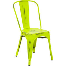 OSP Designs Bristow Stackable Armless Metal Chair - Set of 2 - Antique Lime