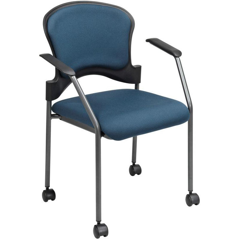 Office Star Products Pro Line II Upholstered Contour Back Stacking Visitors  Chair With Lumbar Support And Casters   Azul 82740 26 | StackChairs4Less.com