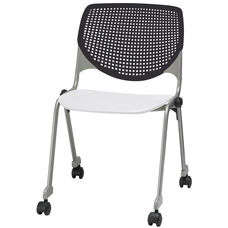 2300 KOOL Series Stacking Poly Silver Steel Frame Armless Chair with Black Perforated Back and Casters - White Seat