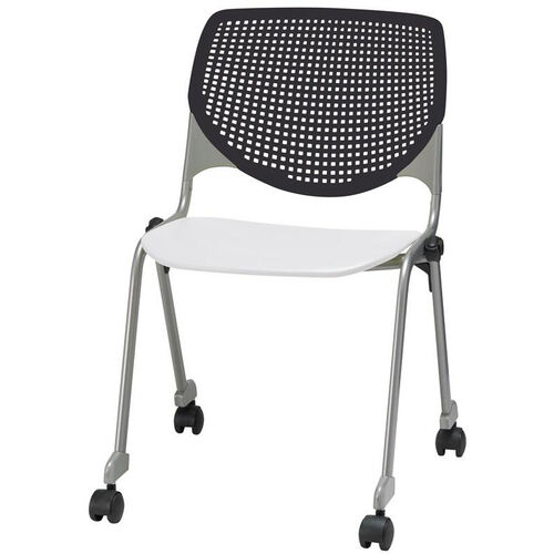 2300 KOOL Series Stacking Poly Silver Steel Frame Armless Chair with White Seat and Casters