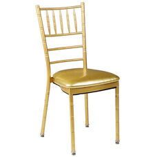 500 lb. Max Chiavari Gold Chair with Gold Vinyl Cushion