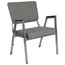 HERCULES Series 1500 lb. Rated Gray Antimicrobial Fabric Bariatric Antimicrobial Medical Reception Arm Chair with 3/4 Panel Back