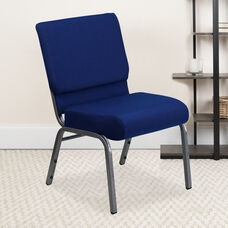 HERCULES Series 21''W Stacking Church Chair in Navy Blue Fabric - Silver Vein Frame