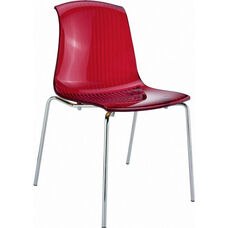 Allegra Polycarbonate Indoor Dining Chair - Transparent Red