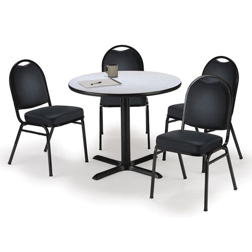 Our Round Laminate Table Set with X-Base and Black Vinyl Upholstered Stack Chairs - Seats 4 is on sale now.