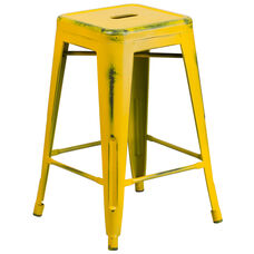 """Commercial Grade 24"""" High Backless Distressed Yellow Metal Indoor-Outdoor Counter Height Stool"""