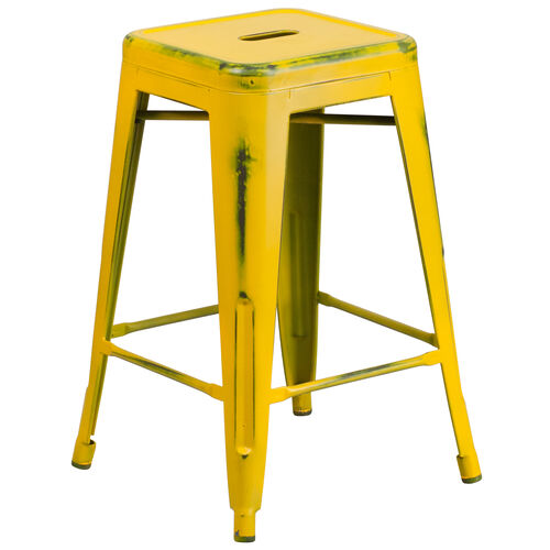 """Our Commercial Grade 24"""" High Backless Distressed Yellow Metal Indoor-Outdoor Counter Height Stool is on sale now."""