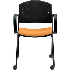 Eddy Stack Side Chair on Casters with Upholstered Seat Pad
