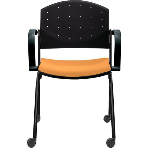Our Eddy Stack Side Chair on Casters with Upholstered Seat Pad is on sale now.