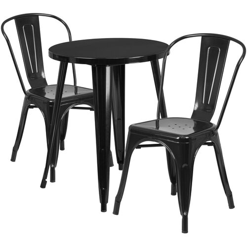 "Our Commercial Grade 24"" Round Black Metal Indoor-Outdoor Table Set with 2 Cafe Chairs is on sale now."