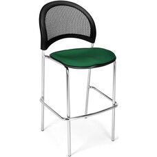 Moon Cafe Height Chair with Fabric Seat and Chrome Frame - Forest Green
