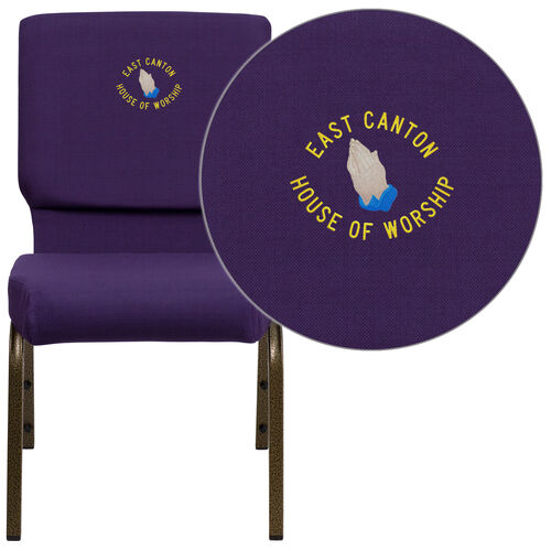 HERCULES™ Series Auditorium Chair - Stacking - 19inch Wide Seat - Purple Fabric/Gold Vein Frame - Custom Logo/Text