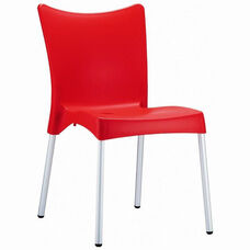 Juliette Outdoor Resin Stackable Dining Chair with Aluminum Legs - Red