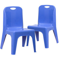 "2 Pack Blue Plastic Stackable School Chair with Carrying Handle and 11"" Seat Height"