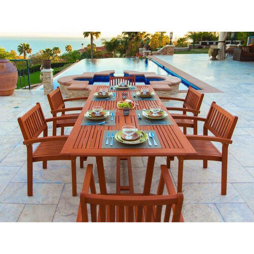 Our Malibu Outdoor 7 Piece Wood Patio Dining  Set with Rectangular Extension Table and 6 Stacking Armchairs is on sale now.