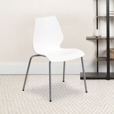 HERCULES Series 770 lb. Capacity White Stack Chair with Lumbar Support and Silver Frame