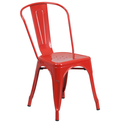 Our Red Metal Indoor-Outdoor Stackable Chair is on sale now.