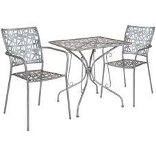 "Agostina Series 27.5"" Square Antique Silver Indoor-Outdoor Steel Patio Table with 2 Stack Chairs"