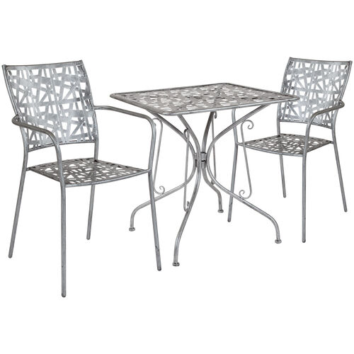 """Our Agostina Series 27.5"""" Square Antique Silver Indoor-Outdoor Steel Patio Table with 2 Stack Chairs is on sale now."""