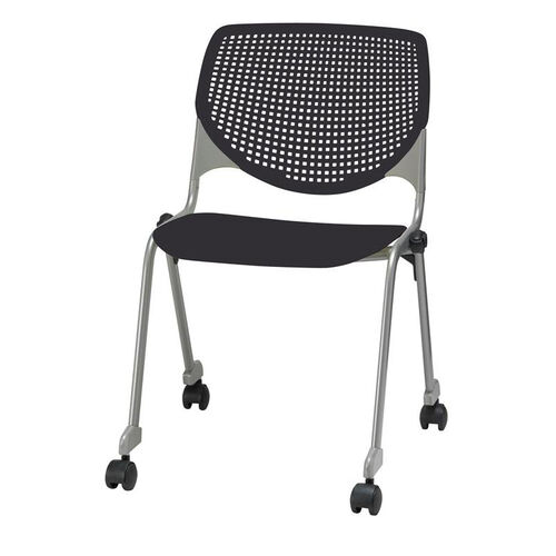 Our 2300 KOOL Series Stacking Poly Silver Steel Frame Armless Chair with Perforated Back and Casters - Black is on sale now.