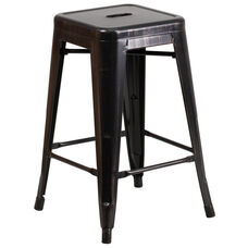 "Commercial Grade 24"" High Backless Black-Antique Gold Metal Indoor-Outdoor Counter Height Stool with Square Seat"