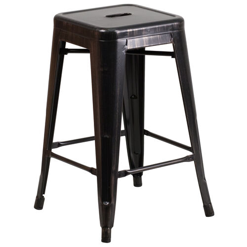 "Our Commercial Grade 24"" High Backless Black-Antique Gold Metal Indoor-Outdoor Counter Height Stool with Square Seat is on sale now."