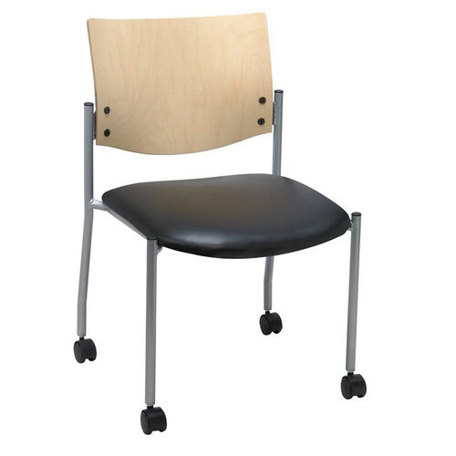Our 1300 Series Stacking Armless Guest Chair with Natural Wood Back and Casters - Vinyl Seat is on sale now.