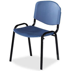 Safco Contour Stacking Blue Polypropylene Armless Chair with Steel Frame - Set of 4
