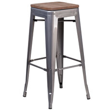 "30"" High Backless Clear Coated Metal Barstool with Square Wood Seat"