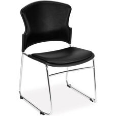 Multi-Use Stack Chair with Anti-Microbial and Anti-Bacterial Vinyl Seat and Back - Black