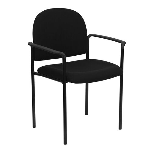 Our Comfort Black Fabric Stackable Steel Side Reception Chair with Arms is on sale now.