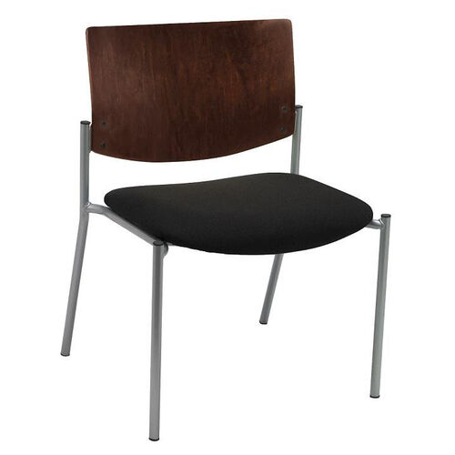 1300 Series Extra Wide Stacking Armless Guest Chair with Chocolate Wood Back - Grade 3 Upholstered Seat