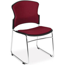 Multi-Use Stack Chair with Fabric Seat and Back - Wine